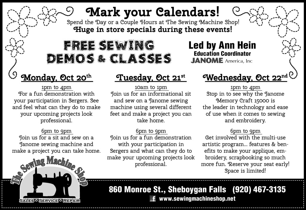 Sewing Machine Shop Classes newspaper ad